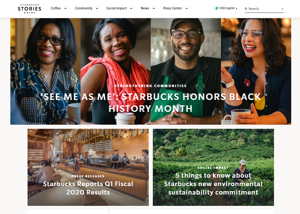 Starbucks company blog