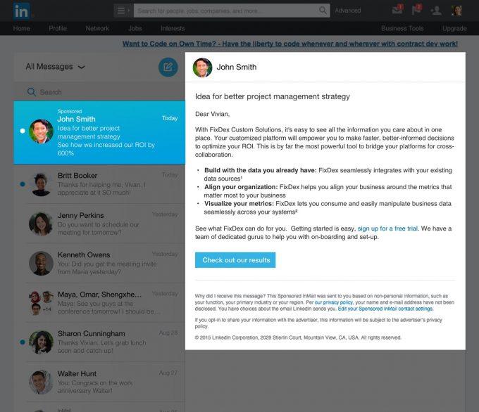 Linkedin Inmail Ads. Image source: Linkedin.