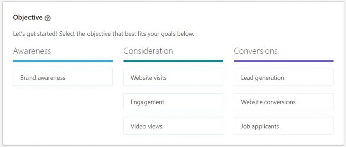Linkedin's new advertising objectives. Image source: Linkedin